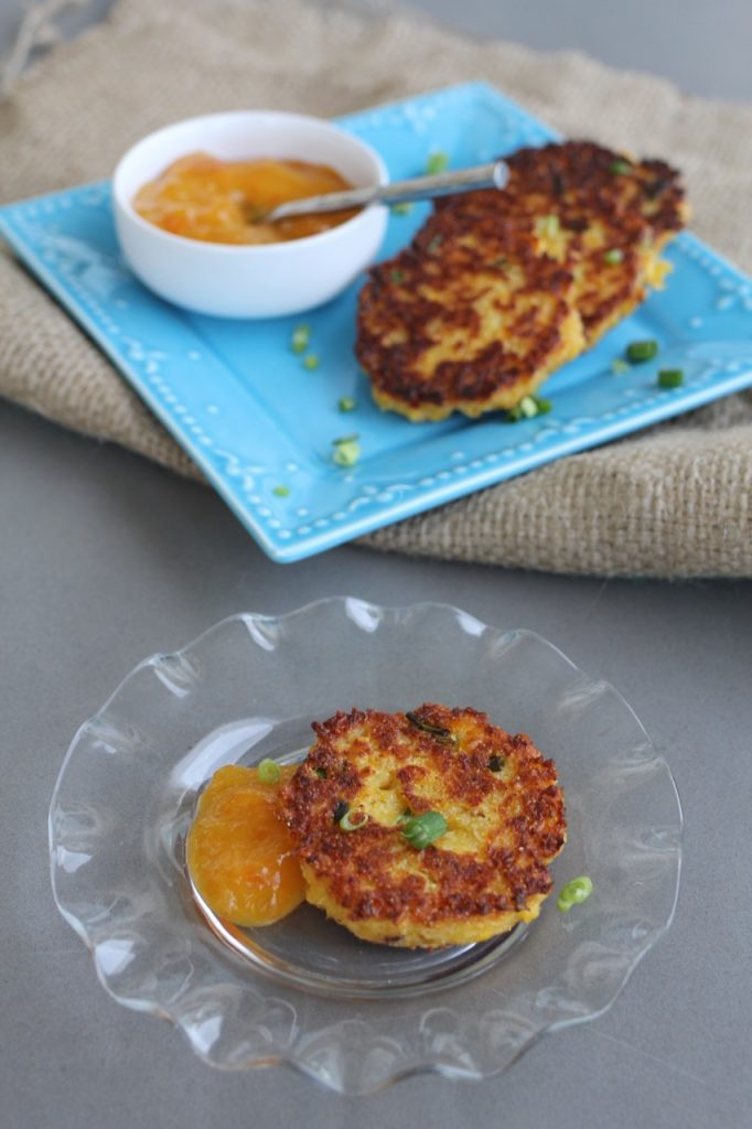 Fresh Corn Cakes with Peach Sauce