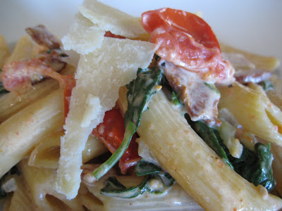 Penne with Sun Dried Tomatoes and Arugula