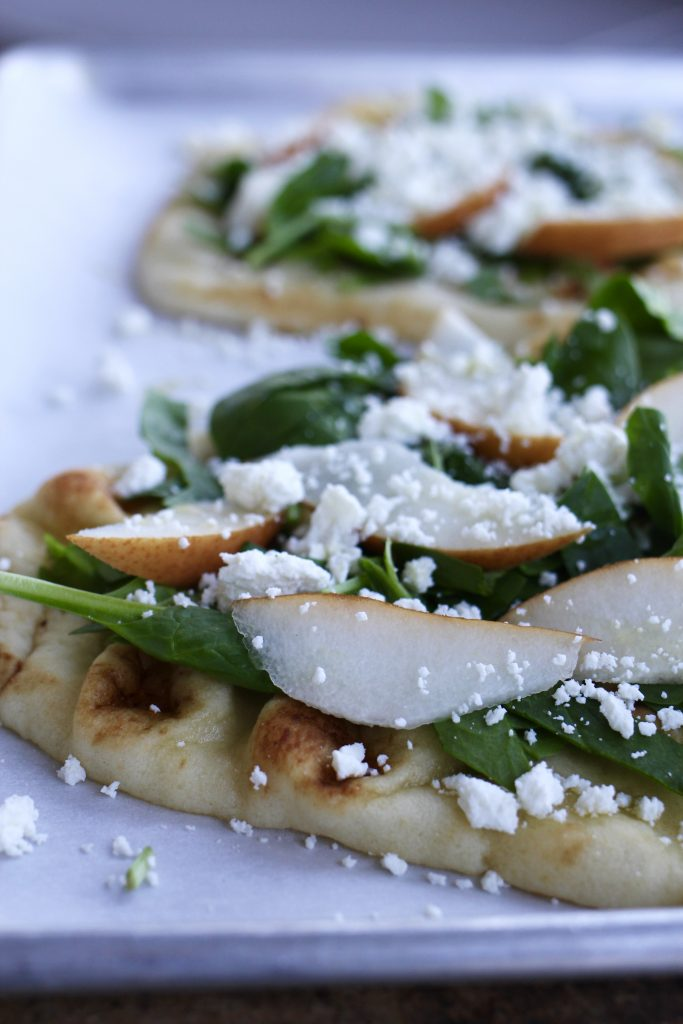 Spiced Pear Flatbreads with Goat Cheese and Mustard Cream - A ...