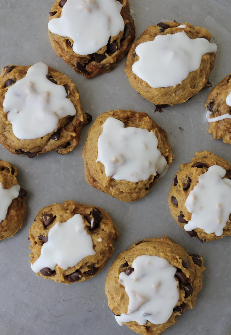Pumpkin Chocolate Chip Cookies with Lemon Icing