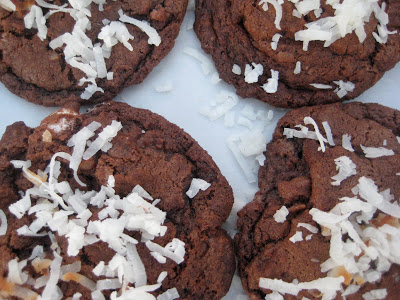 Double Chocolate Coconut M&M Cookies