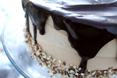 Sour Cream Chocolate Cake with Peanut Butter Frosting and Choco-Peanut Butter Glaze
