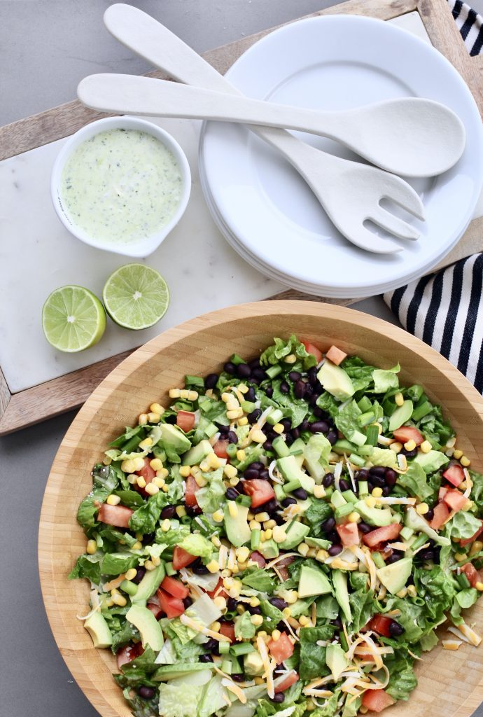 Southwest Salad with Cilantro Honey Lime Dressing