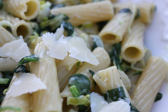Pasta with Creamed Leek and Spinach