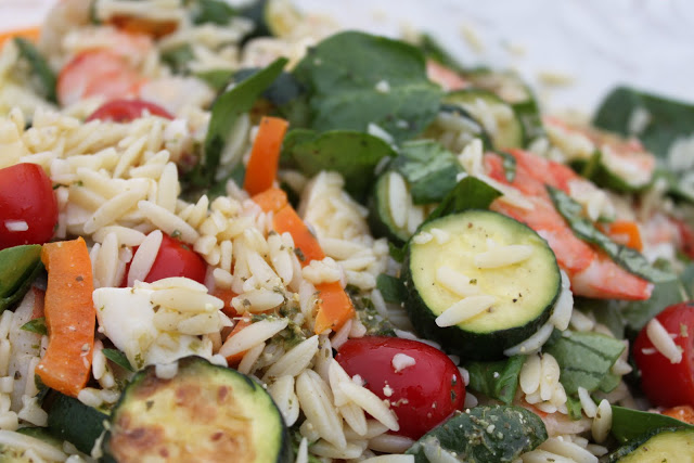 Orzo, Shrimp and Summer Vegetable Salad with Pesto Vinaigrette