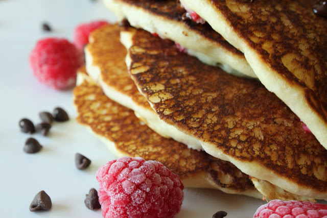 Fresh Raspberry Chocolate Chip Pancakes