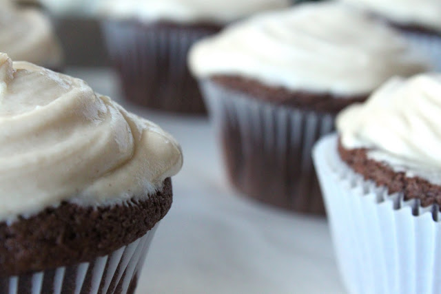 Sour Cream Chocolate Cupcakes with Peanut Butter Frosting