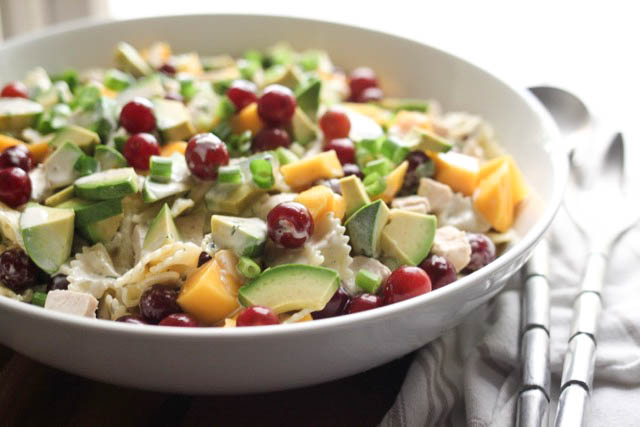 Mango Chicken Pasta Salad with Tarragon Lime Dressing