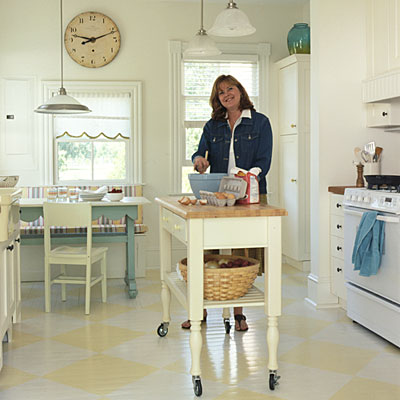 Southern Living Kitchen with painted wood floor