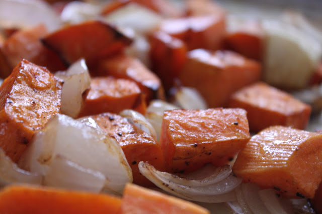 Balsamic Roasted Yams and Onions