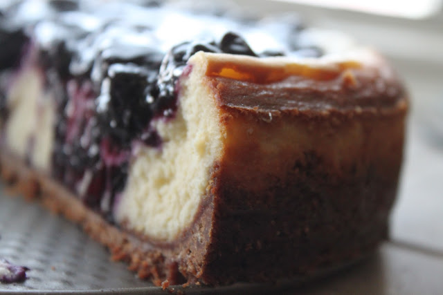 White Chocolate Blueberry Cheesecake with Ginger Cookie Crust