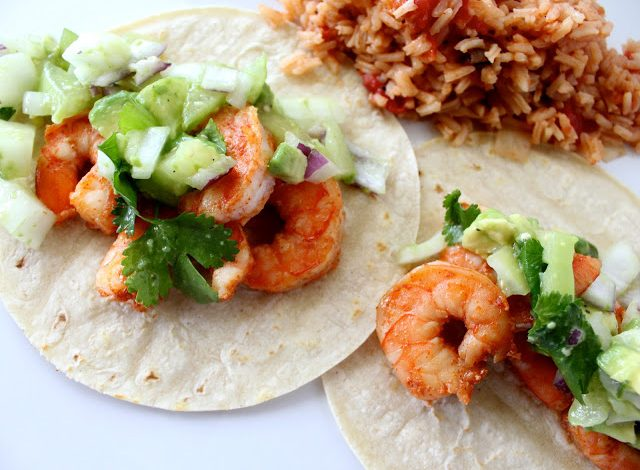 Chipotle Shrimp Tacos with Avocado Salsa Verde
