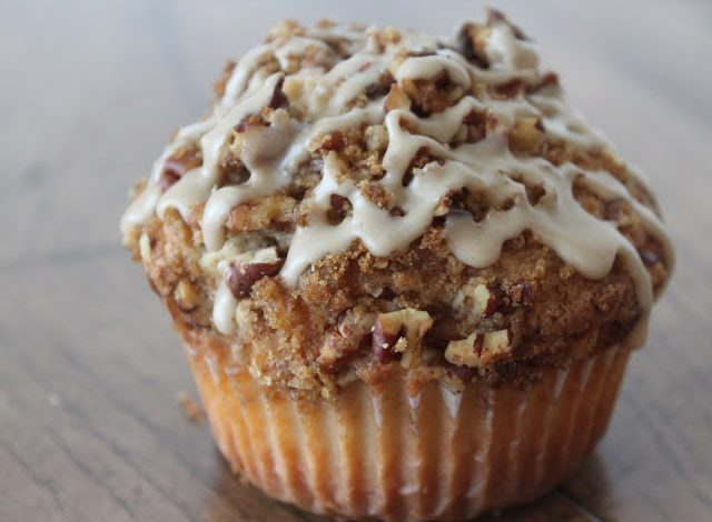 Coffee Cake Muffins with Salted Maple Glaze