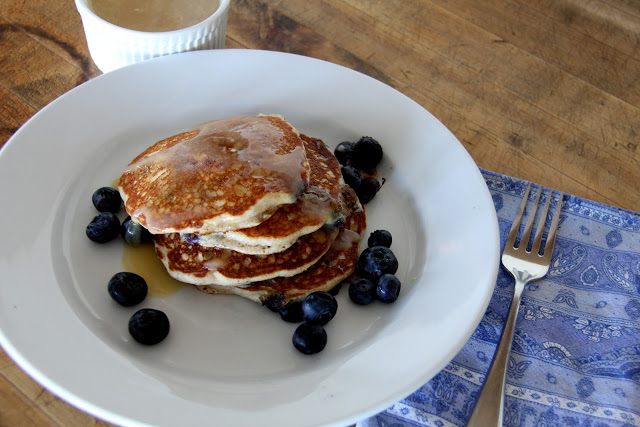Blueberry Light Wheat Pancakes with Maple Butter