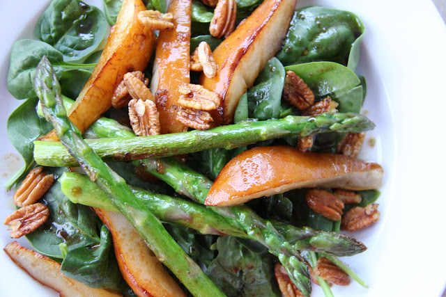 Warm Caramelized Pear and Asparagus Salad