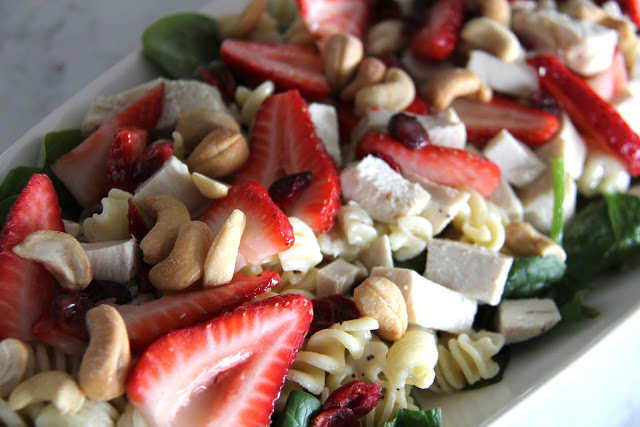Strawberry Spinach Pasta Salad with Fresh Lemon Vinaigrette