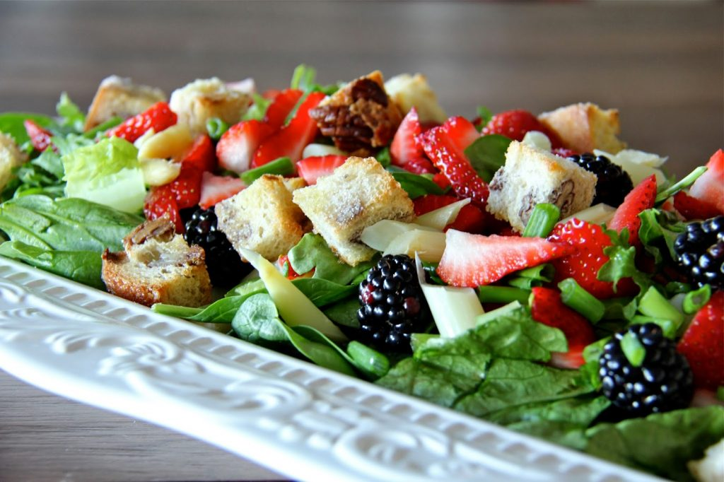 Springtime Salad with White Chocolate Pecan Croutons