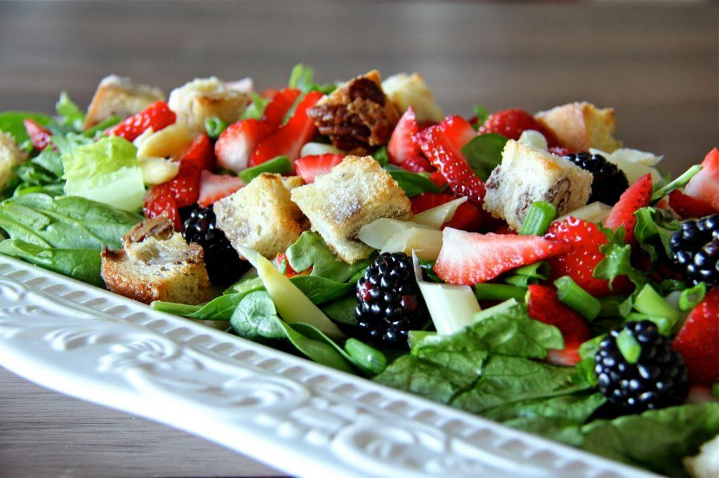 Springtime Salad with White Chocolate Pecan Croutons