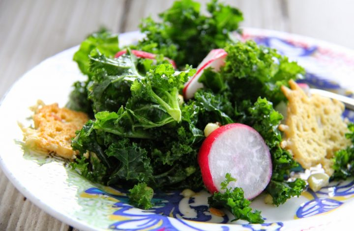 Kale, Radish and Roasted Corn Salad with Parmesan Crisps- Mother's Day 2014 Menu