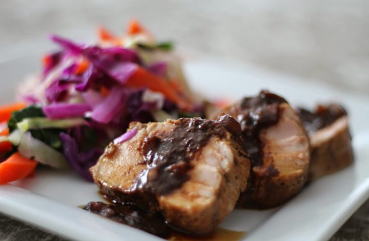 Pork Tenderloin with Sesame Ginger Glaze and Warm Cabbage Slaw
