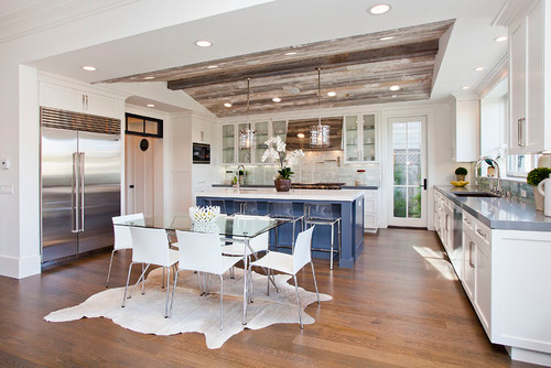 Houzz Blue and White Kitchen | A Bountiful Kitchen