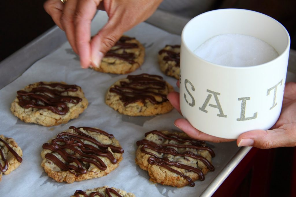 Toffee and Chocolate Chip Cookies with Salted Chocolate Drizzle