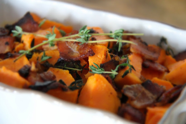 Savory Yams with Bacon, Cream and Fresh Thyme