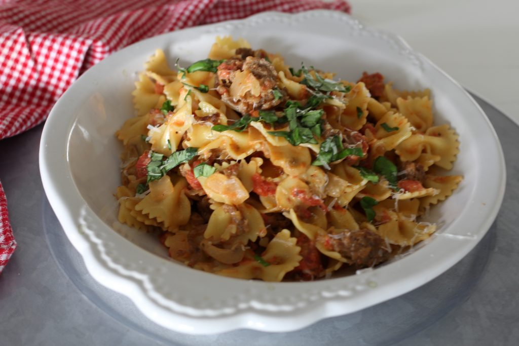 Bowtie Pasta with Sausage, Tomatoes and Cream