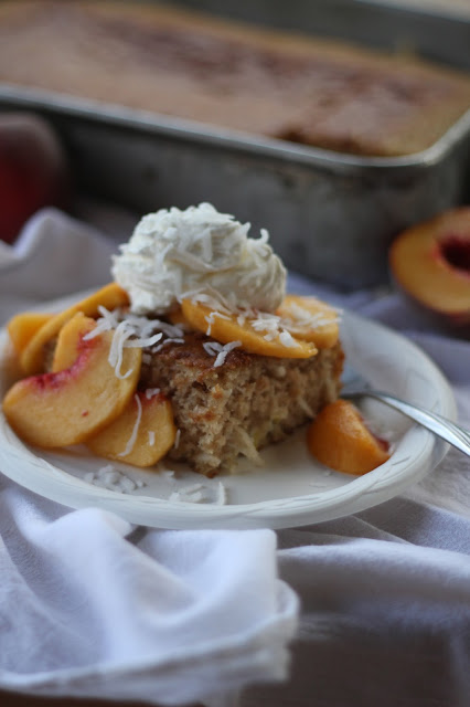 Fresh Peach and Coconut Cream Cake