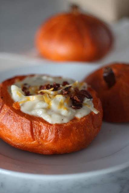 Loaded Baked Potato Soup in Bread Bowls