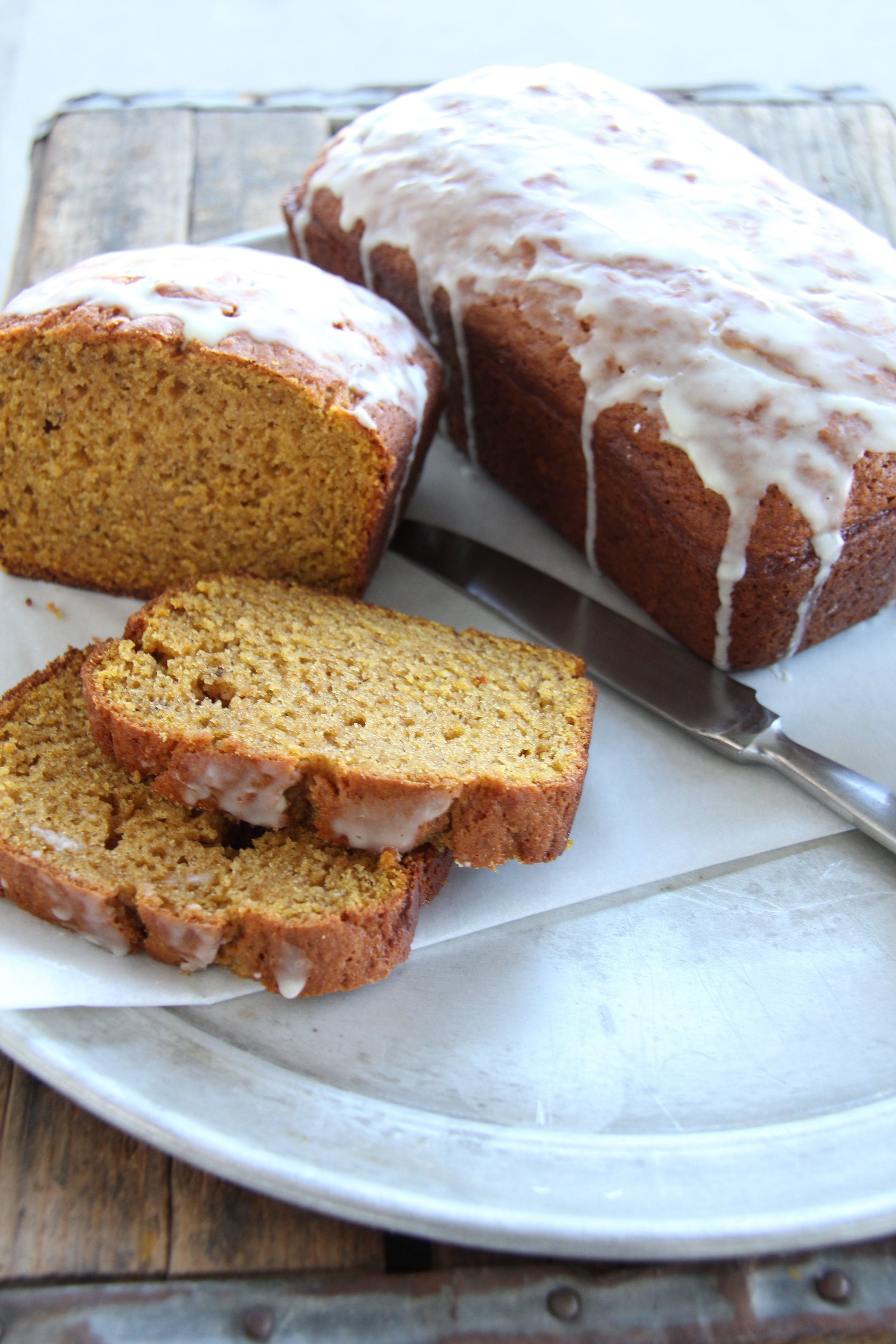 Pumpkin Banana Bread with Orange Glaze