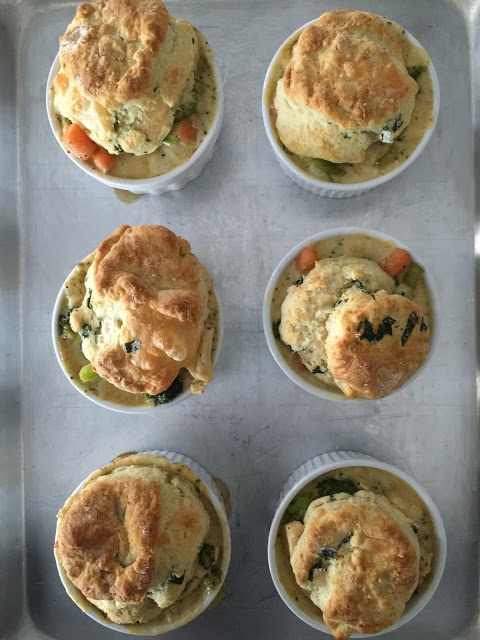 Mini Chicken Pot Pies with Herb and Cheese Biscuit Toppers