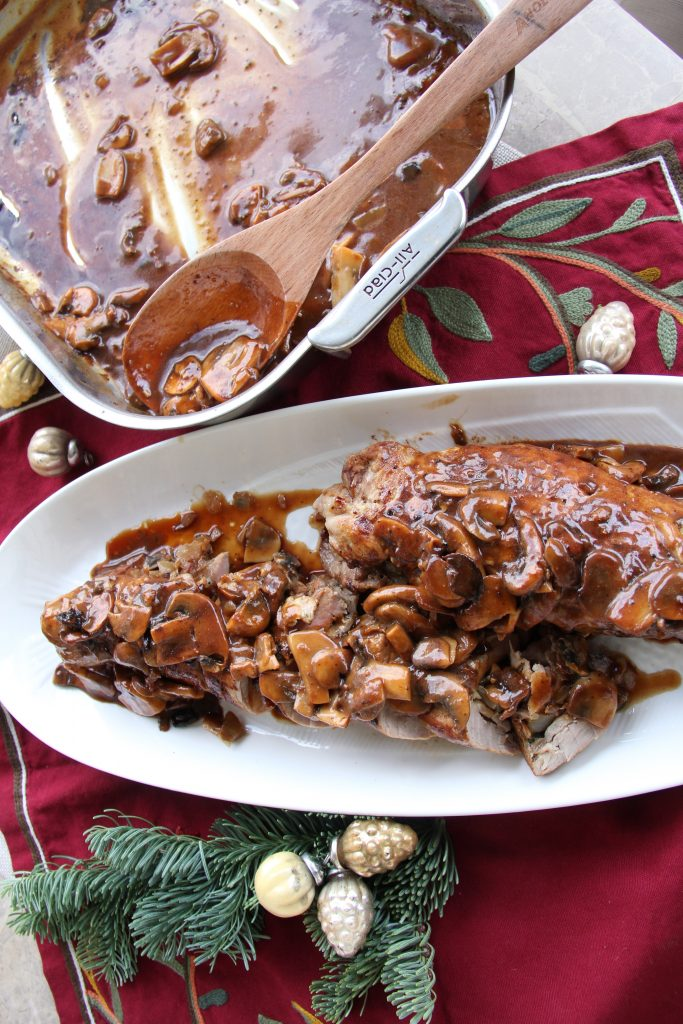 Stuffed Pork Tenderloin with Balsamic Mushroom Gravy