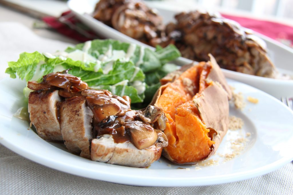 Stuffed Pork Tenderloin with Balsamic Mushroom Gravy