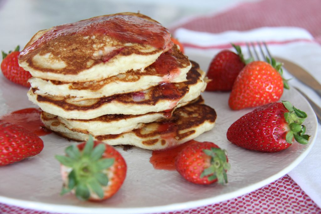 Strawberry Buttermilk Pancakes with Fresh Strawberry Syrup