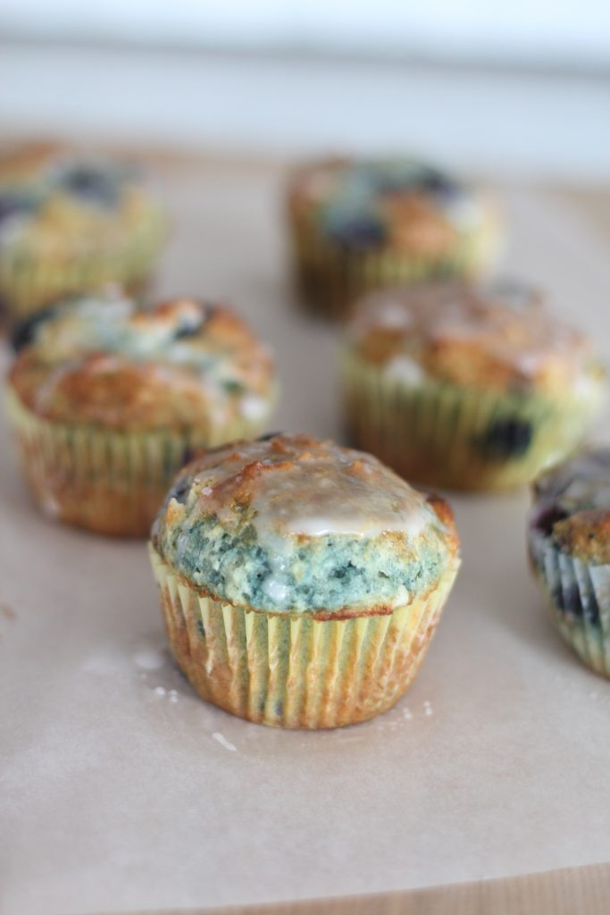 Blueberry and Lemon Zest Muffins with Fresh Lemon Glaze
