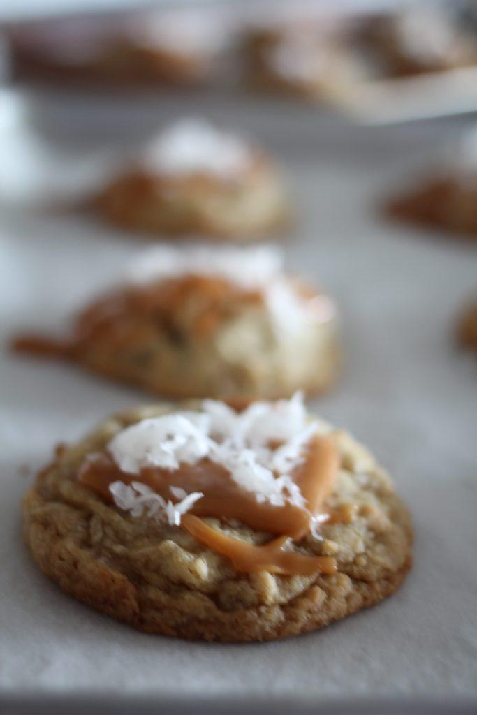 Caramel Covered Pretzel Coconut Cookies