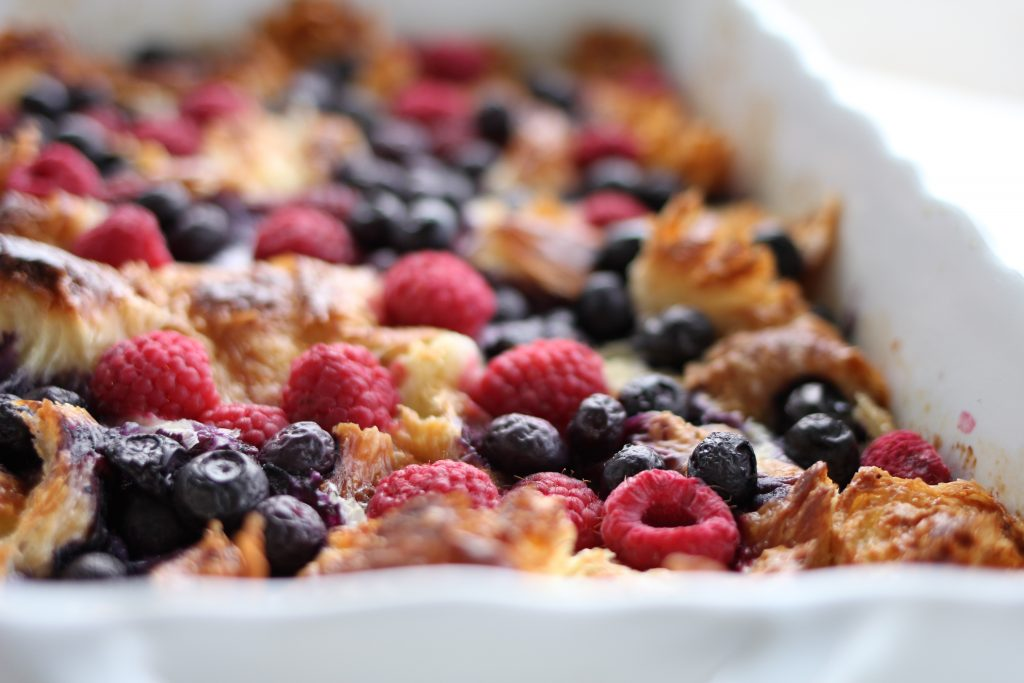 Overnight Breakfast Berry Bake with Caramel Syrup