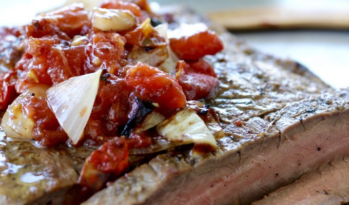 Grilled Flank Steak with Charred Tomato Relish