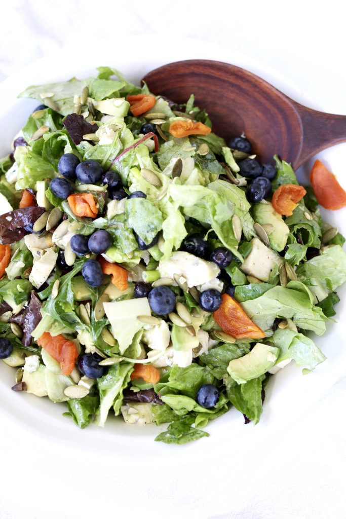 Blueberry, Avocado and Chicken Salad with Grapefruit Balsamic Dressing