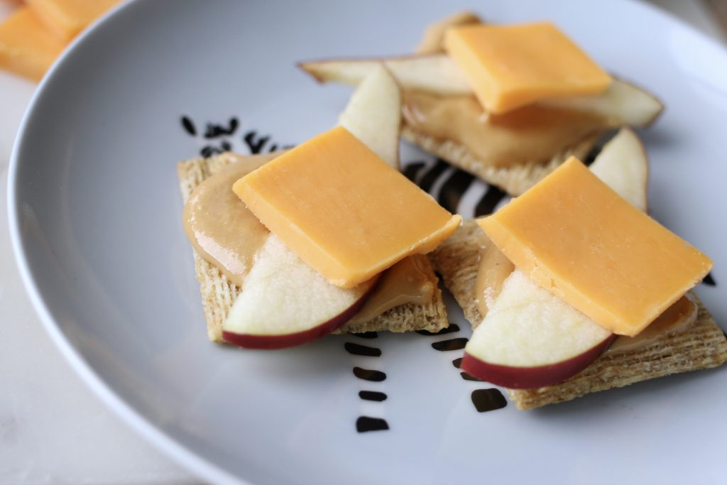 Triscuit apple cheese peanut butter