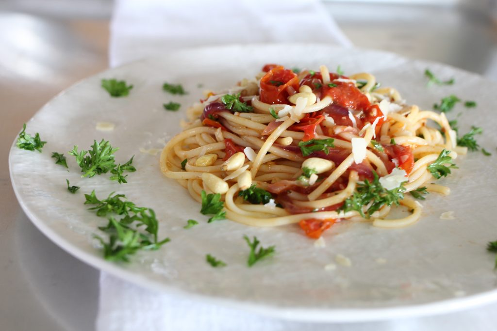 Barilla Gluten Free Spaghetti with Tomatoes and Pine Nuts