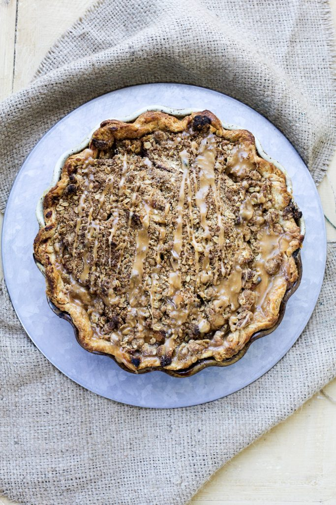 Salted Caramel Apple Pie with Streusel Topping