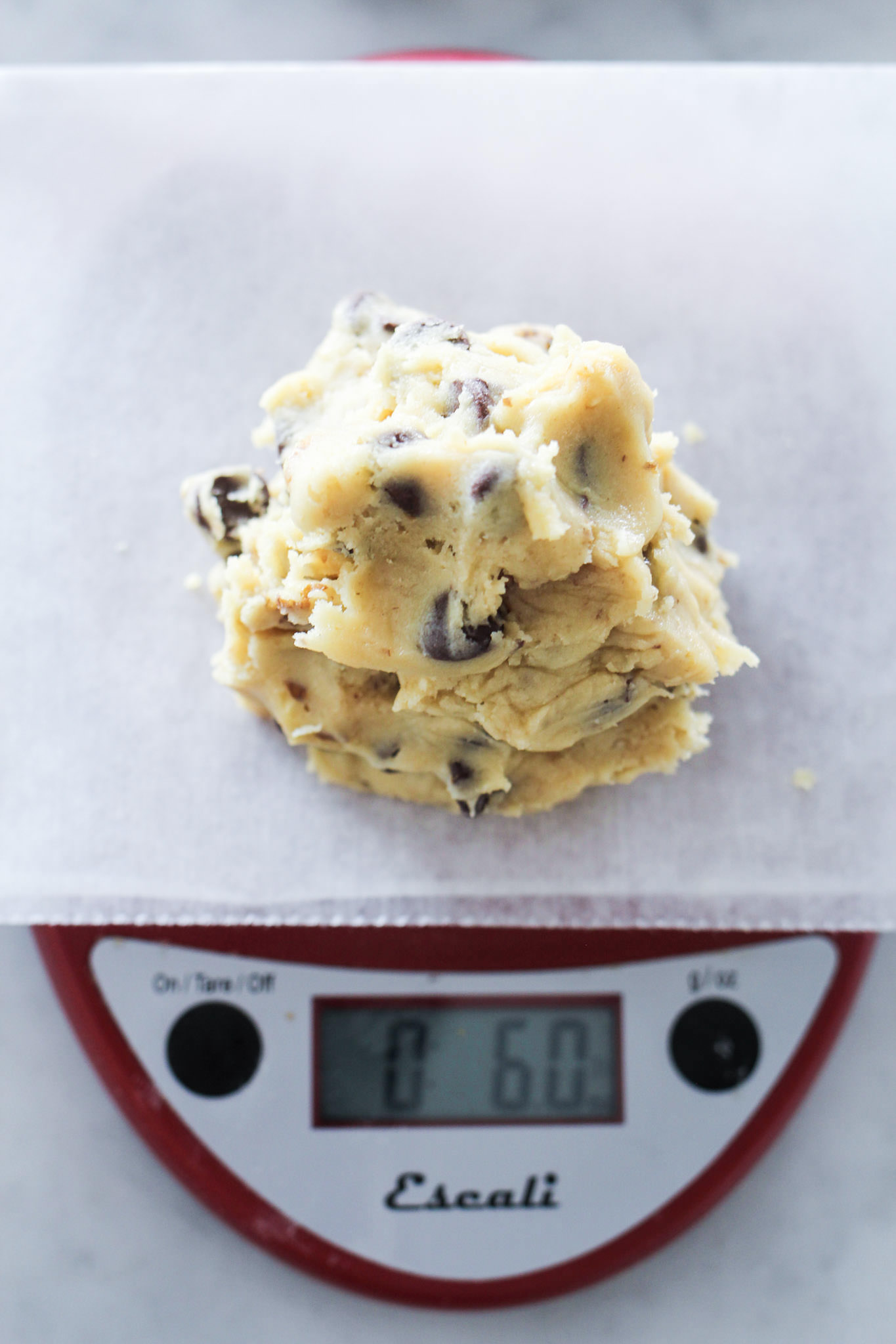 Levain Bakery Chocolate Chip Cookie Dough on Scale