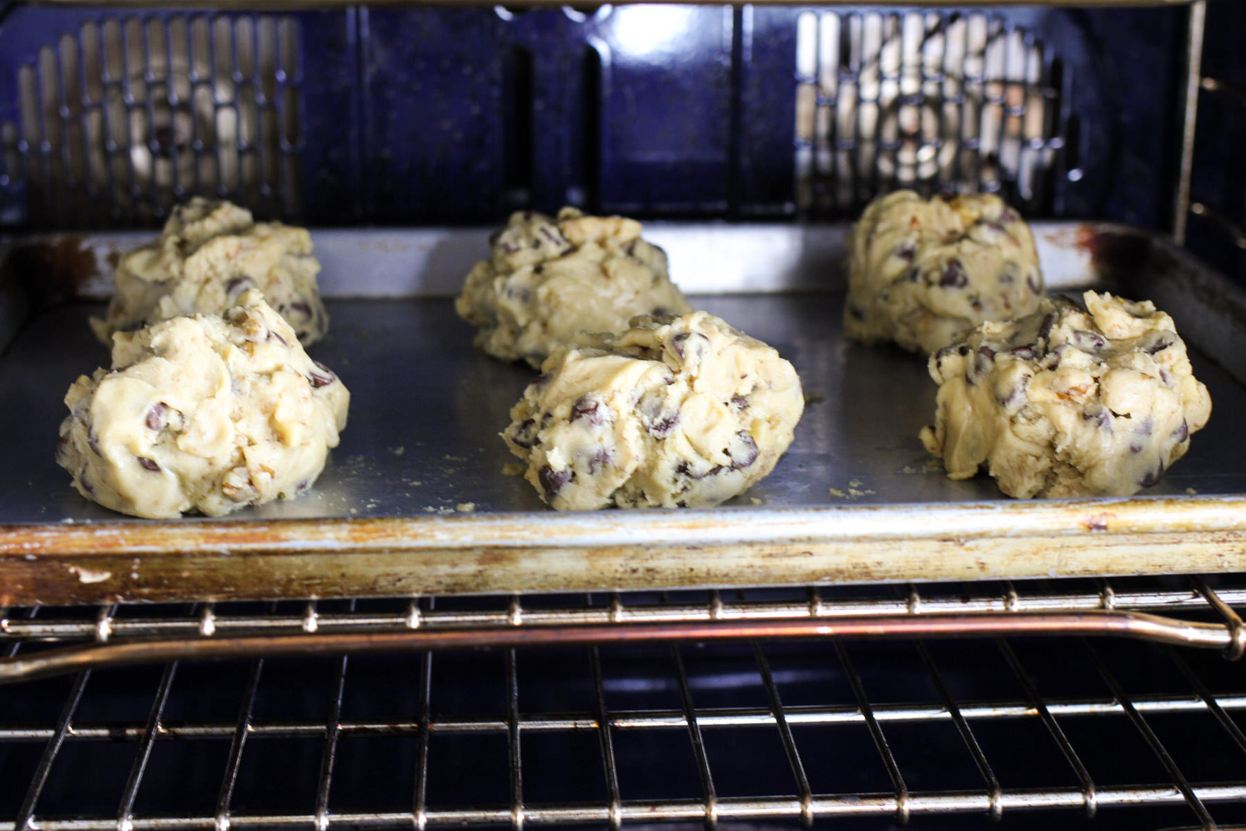 Levain Chocolate Chip Cookie Dough in oven