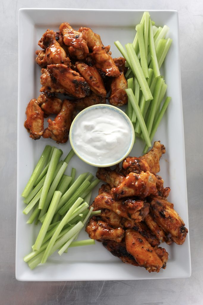Baked Hot Wings with Creamy Gorgonzola Dipping Sauce