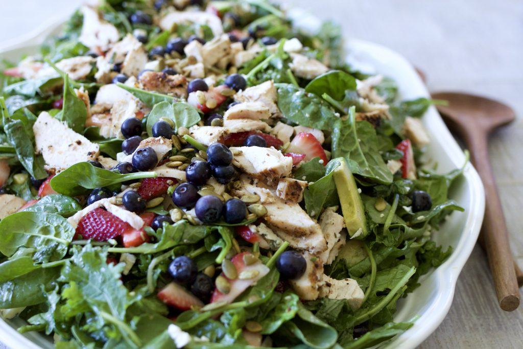 Grilled Chicken and Kale Salad with Apricot Vinaigrette