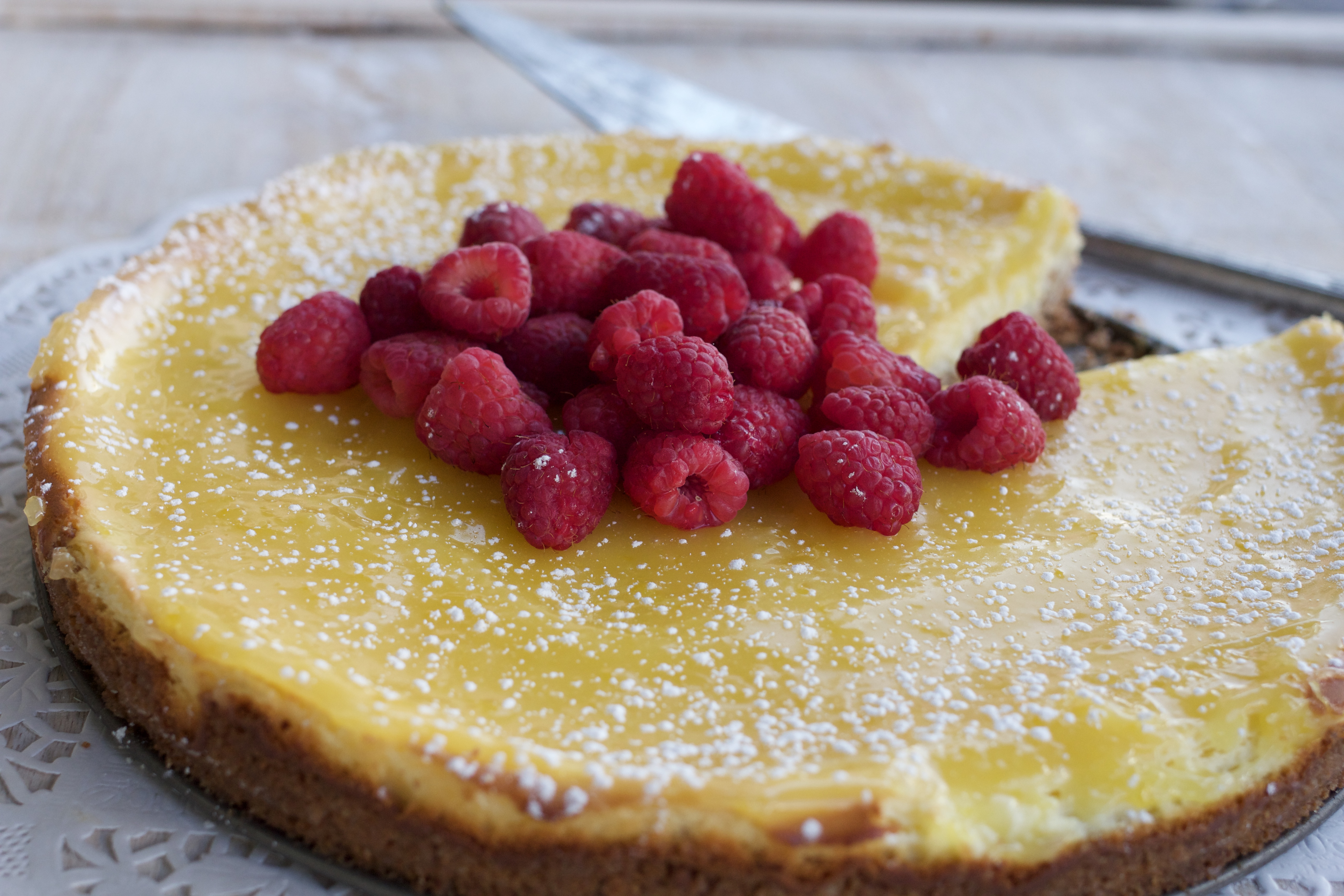 Lemon Cream Cheese Tart with Coconut Cookie Crust