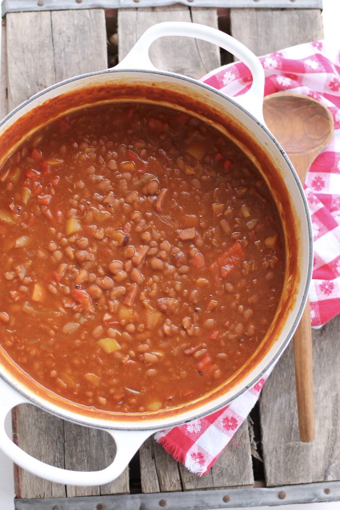 Homemade Baked Beans with Ham and Peppers