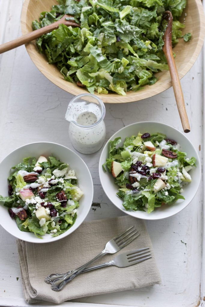 Apple, Feta and Spiced Pecan Salad with Poppyseed Dressing